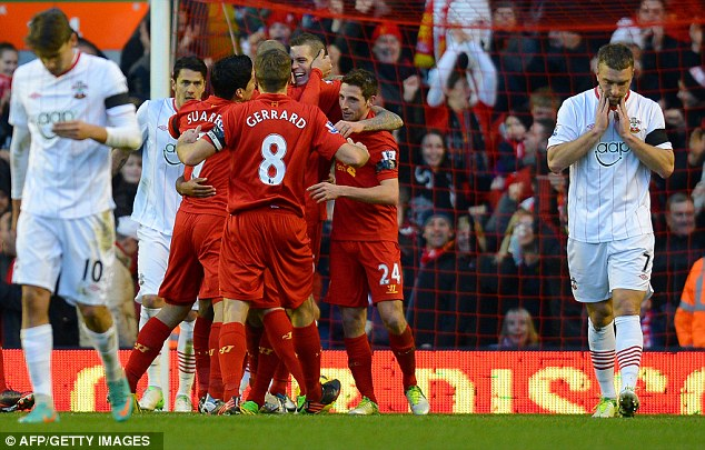 Mixed emotions: Southampton and Liverpool react after Agger's goal