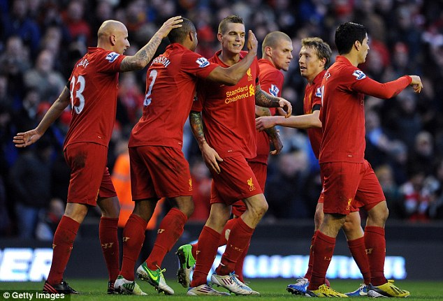 On target: Daniel Agger secured a vital victory for Liverpool