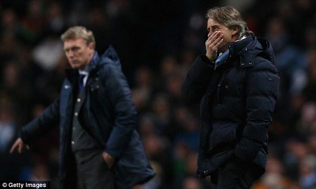 No joy: Manchester City boss Roberto Mancini reacts