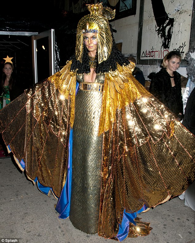 Impressive: Last Halloween, the America's Got Talent judge covered her face in hundreds of rhinestones and donned a bejeweled pharaoh headdress as Cleopatra