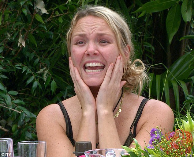 Oh my God! Charlie Brooks freaks out after looking at one of her courses during the Final Feast Bushtucker Trial