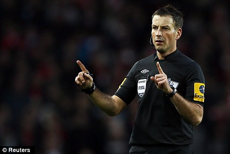 Good week: Mark Clattenburg had a tricky call to make and acted appropriately