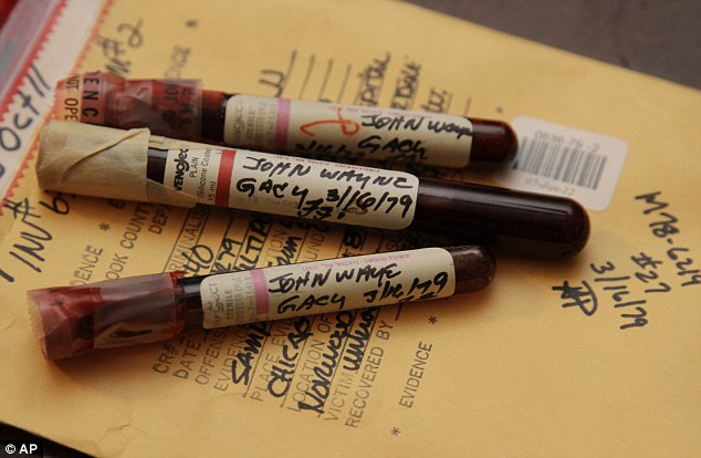 Blood of a serial killer: Three vials of serial murderer John Wayne Gacy's blood - recently discovered and analysed by Cook County Sheriff's detective Jason Moran