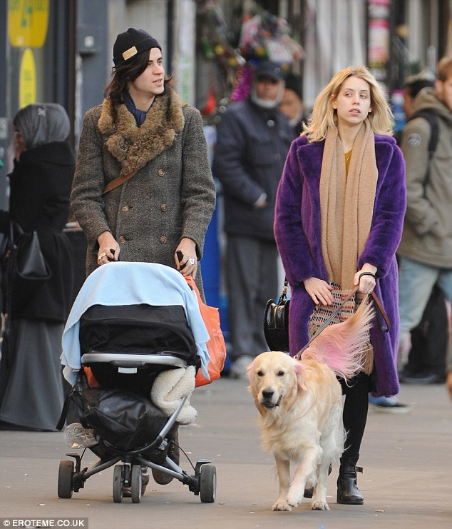 Easy Sunday: Pregnant Peaches Geldof steps out with her husband Tom Cohen and their seven month old son Astala
