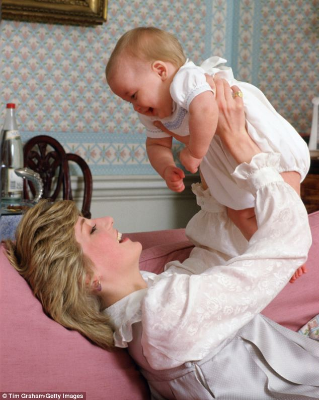 Princely surroundings: A joyous Diana plays with eight-month-old William at Kensington Palace