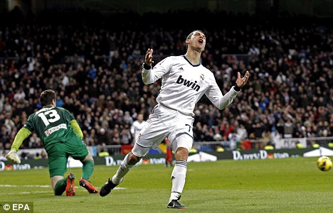 Missing out: Ronaldo reacts after seeing his shot hit the post