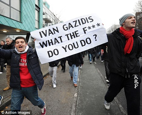 New low? Defeat to Swansea came after protests outside the Emirates