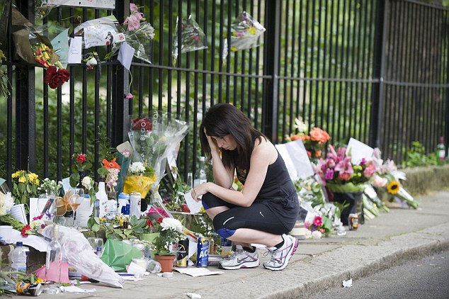 A fan site: The Camden house is still visited by fans who continue to leave tributes to the star 15 months after her death