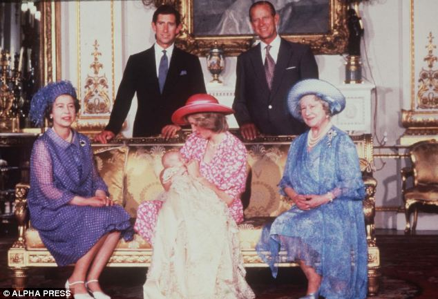 Formal gathering: William wails as the Queen, Queen Mother, and his parents pose for the camera