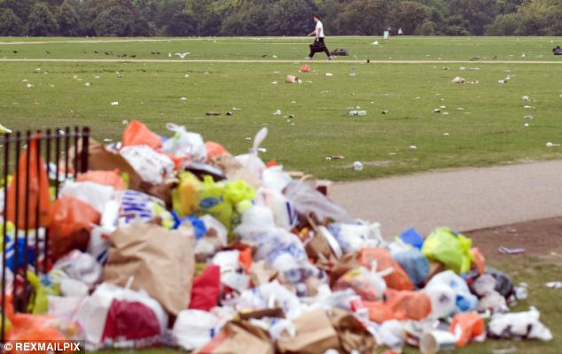 The Liberal Democrats claim the Treasury has been the last stumbling block to securing a levy on plastic bags to rubbish, seen here in Hyde Park