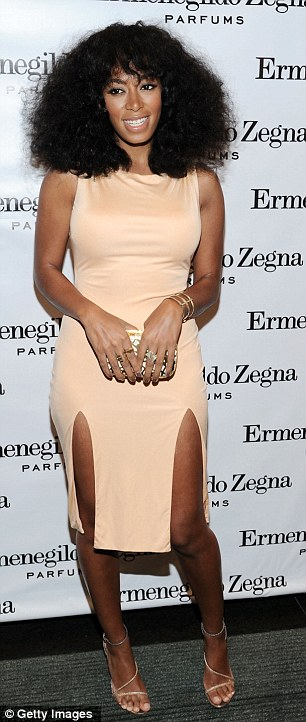Peachy: Solange Knowles wore a revealing dress to the Ermenegildo Zegna boutique in New York City