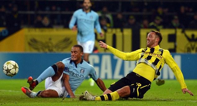 Sliding in: Julian Schieber handed Borussia Dortmund the lead in the second half