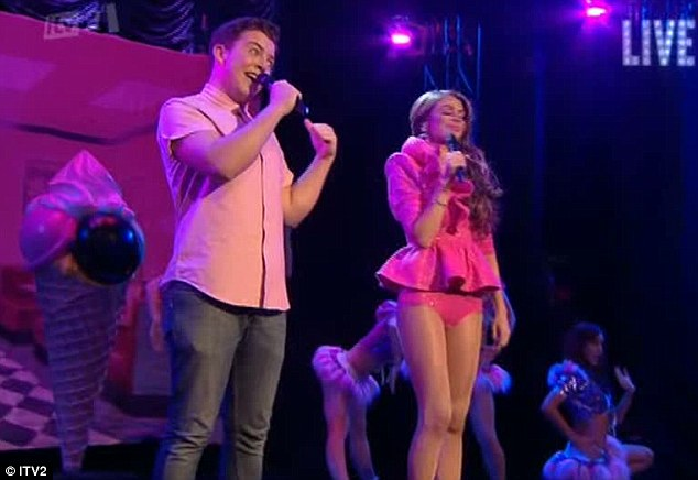In the pink: Chloe duetted with Diags with a rendition of Barbie Girl