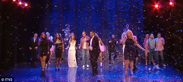 Phew! It's all over: Jessica, Arg and Gemma sang on stage before they were joined by the cast