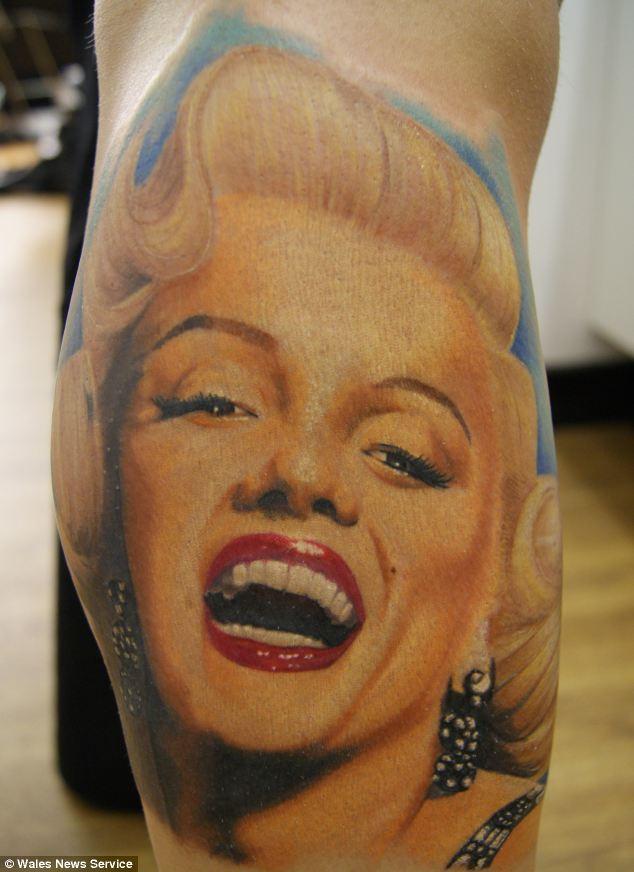 A Marilyn Monroe tattoo, courtesy of Chris Jones of Physical Grafitti, Cardiff