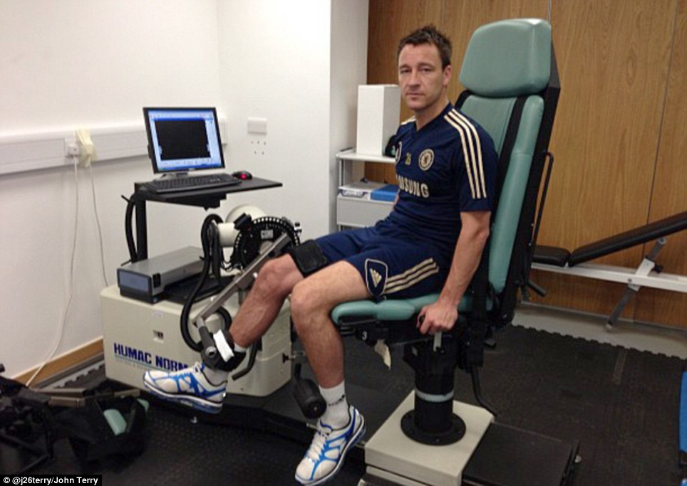 Road to recovery: Terry his hoping to be fit for Chelsea's game at Sunderland on Saturday