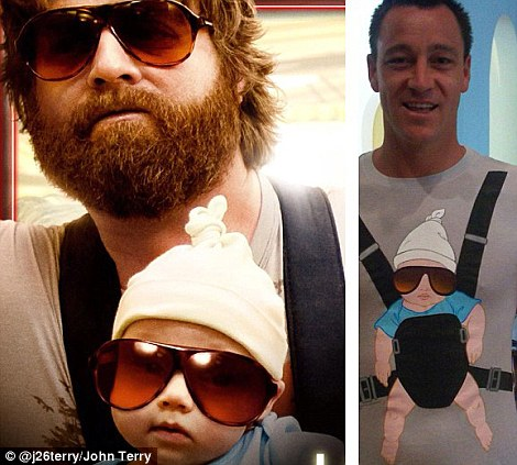 Hangover: Terry with the baby strap similar to that worn in the hit film