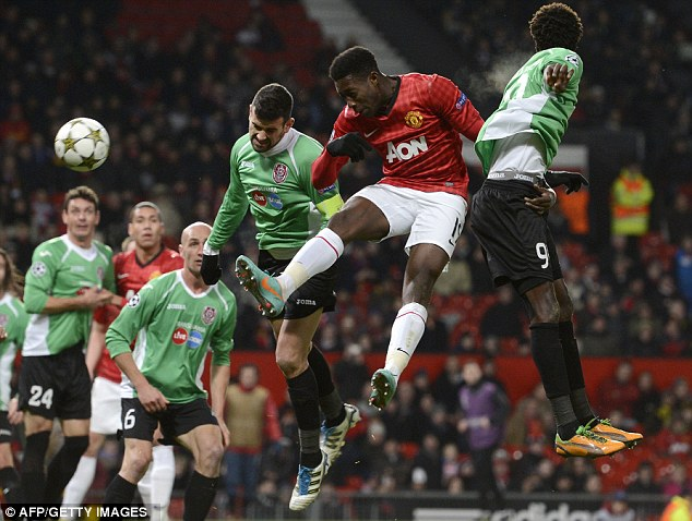 Going close: Danny Welbeck heads just wide