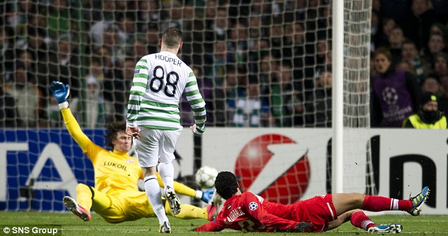 In front: Gary Hooper put Celtic into the lead against Spartak Moscow