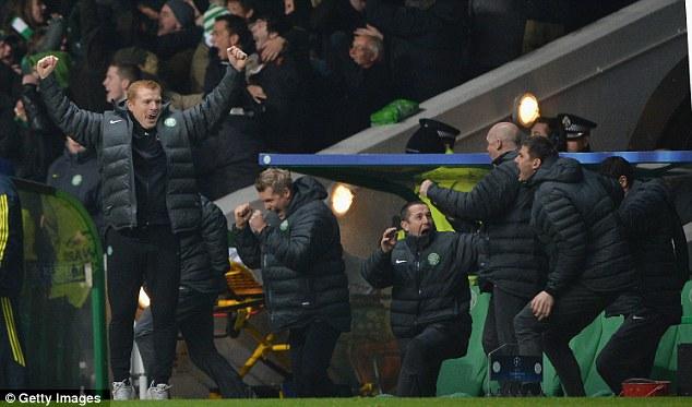 Done it! Neil Lennon celebrates Celtic's win in the Champions League