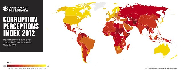 The darker the colour on the world map, the more corrupt each country is perceived to be