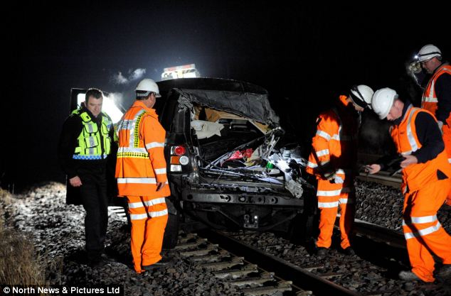 The scene of the accident on the A69 Newcastle to Carlisle road. A car came off the road and ended up on the train tracks and was hit by a train leaving a 11-year-old boy critically ill in hospital