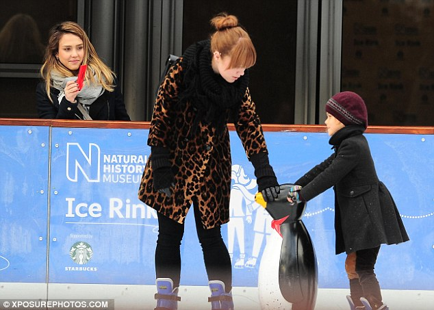 Ice ice, baby: Earlier this week, Jessica looked on lovingly as Honor attempted a spot of ice-skating at the Natural History Museum