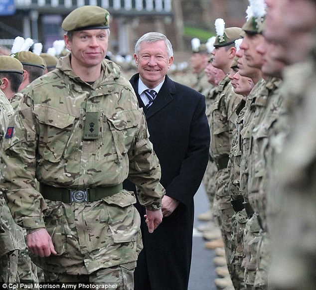 Meeting and greeting: Sir Alex Ferguson met with soldiers from the The Royal Welsh in Chester