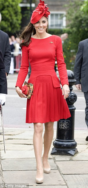 Designers favoured by the Duchess are also popular with shoppers, she wears a dress by Joseph, left, and Alexander McQueen, right