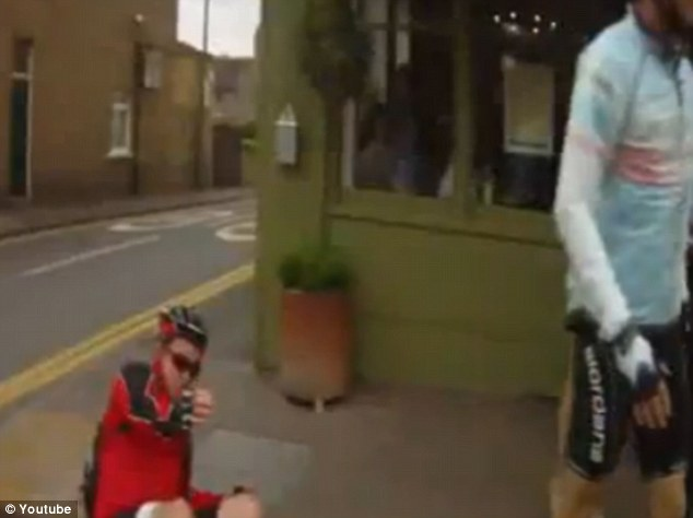 Violent confrontation: Simon Page, who was in a group of seven cyclists en route from Dover to London, was knocked to the ground in Bexley Village, South London