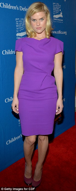The royal colour: Elisabeth Shue, left, and Alice Eve, right, wore similar shades of purple