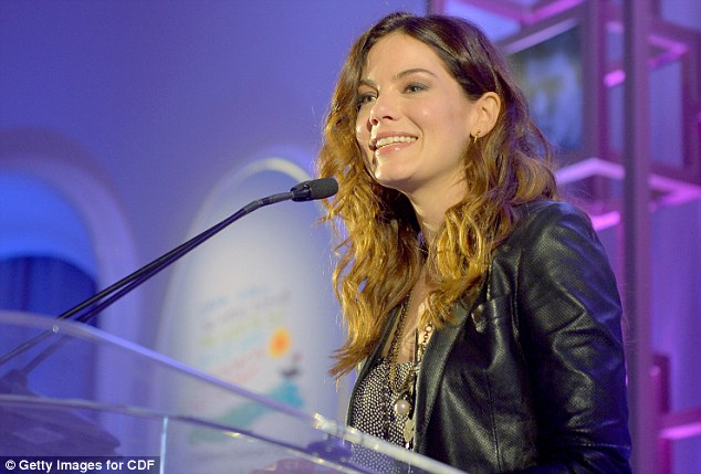 At the mic: Michelle Monaghan also spoke at the event