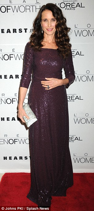 Chic: The 54-year-old actress oozed glamour as she showed off her incredible figure in a floor-length maroon sequin gown