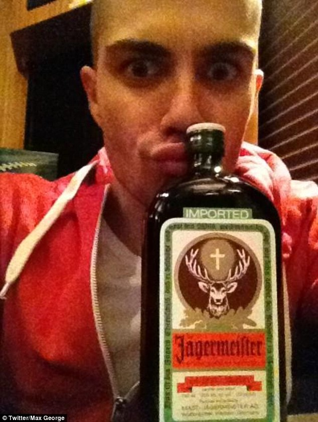 'A good night ahead': Max seemed to be celebrating the gig with a few alcoholic refreshments