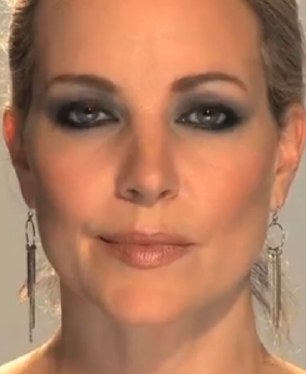 Get ready to party: Before, left, and after, right, applying the smokey eye look