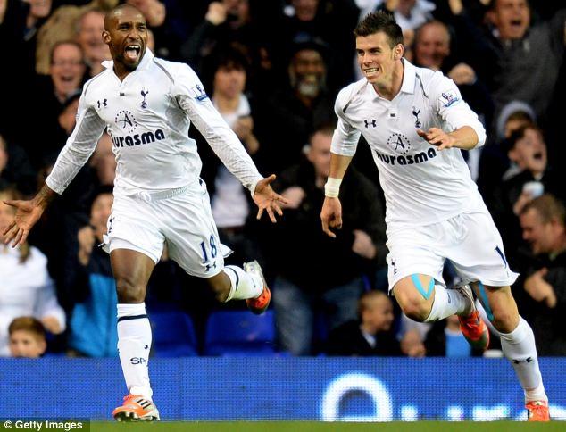 Jermain Defoe celebrates his goal against QPR in the Premier League
