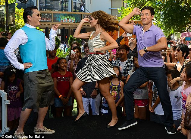 Psy has been teaching his unique dance on talk shows, included Extra at The Grove
