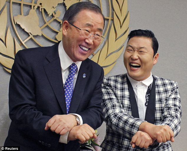 Psy performs the Gangnam Style dance with U.N. Secretary-General Ban Ki-moon (left). The U.N. leader has described the song as a 'force for good'