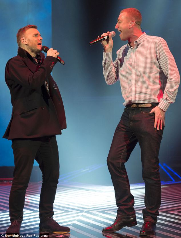 Duet: Christopher was seen practising for his duet alongside mentor Gary Barlow