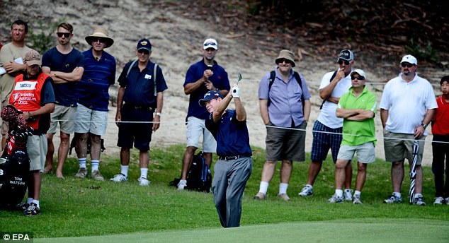 Struggling: Tom Watson had a round to forget in Sydney