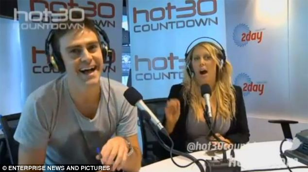 Australian 2Day FM radio presenters Michael Christian, left, and Mel Greig, right, are pictured joking about their successful hoax call to the King Edward VII hospital in an internet promotion for the prank