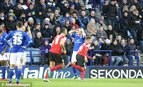 Delight: Reuben Noble Lazarus celebrates scoring Barnsley's second