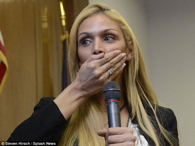 Choked: Charriez demonstrates to the courtroom how she was attacked