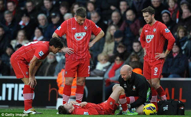 Ouch: Adkins hopes that the two weeks off they have will give Lallana time to recover