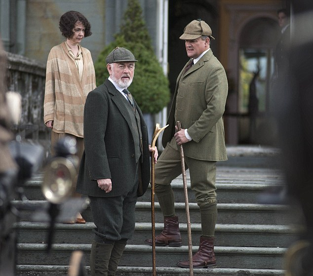 The feuding families: The Marquess of Flintshire and wife Susan welcome the Crawleys to Duneagle, believing they will be allies in their battle to control their wayward daughter