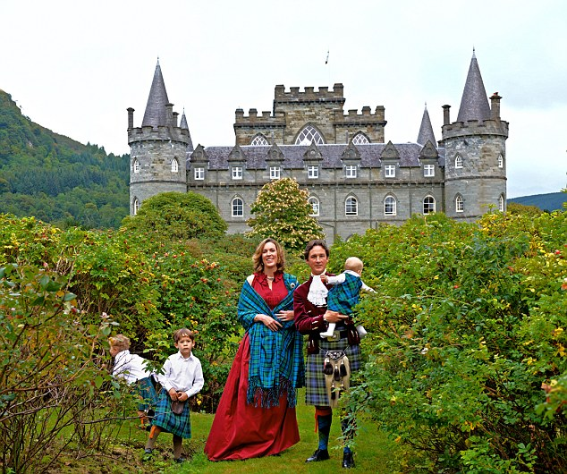 The Duke and Duchess of Argyll and their children at home at Inveraray Castle in the Scottish Highlands