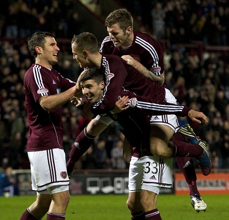 Wage deferral: Hearts players celebrate a goal against Aberdeen