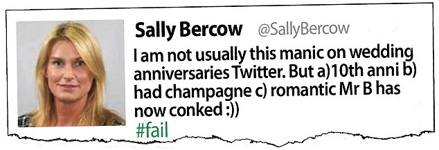 Embarrassing: Sally Bercow told her 62,000 Twitter followers that her tenth wedding anniversary had fizzled out when husband John 'conked'