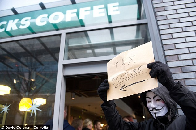 Rage: There is growing public anger over foreign companies using tax law to avoid UK corporation tax. Yesterday saw protests at Starbucks in Liverpool