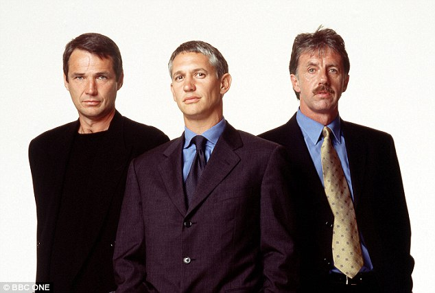 Little evolution: Lineker (centre) with Hansen and Lawrenson in 2001 and below in 2006